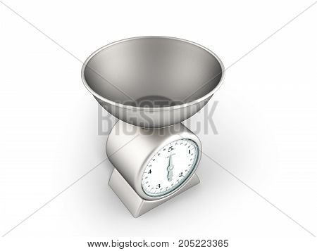 Kitchen Scale Perspective 3D Render On White Background