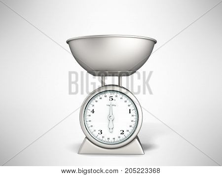 Kitchen Scale Front Metal 3D Rendering On Gray Background