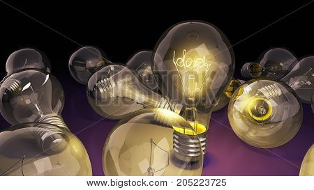 Concept Of Idea Light Bulb With Word Idea Inside Background For Presentations 3D Render Image