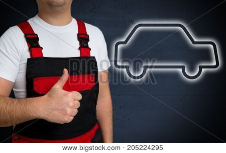 Car icon is shown by craftsman with thumbs up.