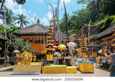 Bali Indonesia - September 9 2017 : Ganung Kawi Temple. Ganung Kawi temple is around royal tombs carved into stone cliffs in the 11th century. Bali Indonesia