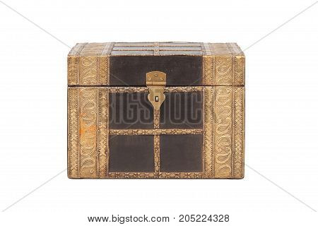 Closed chest (casket) on white background. Isolated