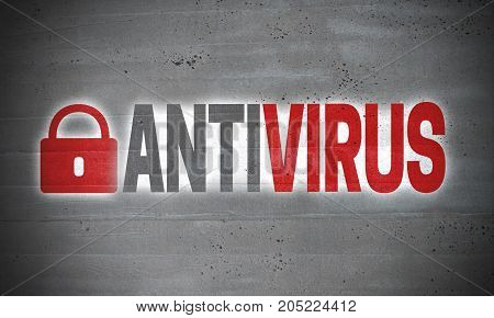 Antivirus on concrete wall concept background picture