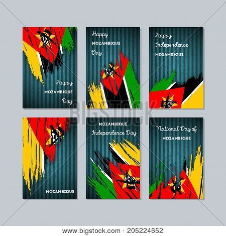 Mozambique Patriotic Cards For National Day. Expressive Brush Stroke In National Flag Colors On Dark