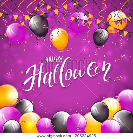 Lettering Happy Halloween on purple background with multicolored balloons, pennants, streamers and confetti, illustration.