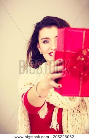 Woman With Red Christmas Gift Box