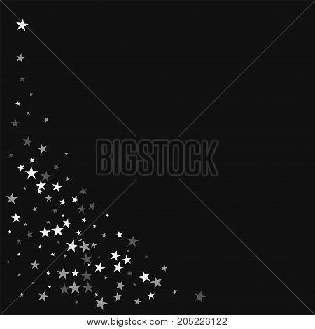 Random Falling Stars. Bottom Left Corner With Random Falling Stars On Black Background. Bizarre Vect