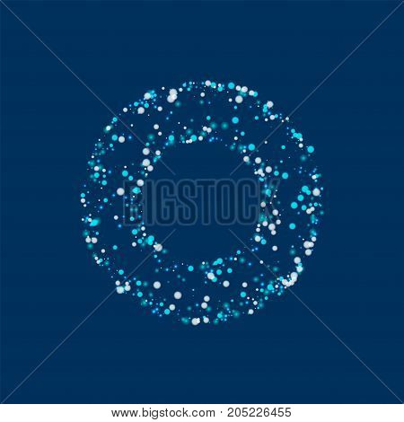 Amazing Falling Snow. Bagel Shaped Frame With Amazing Falling Snow On Deep Blue Background. Beauteou