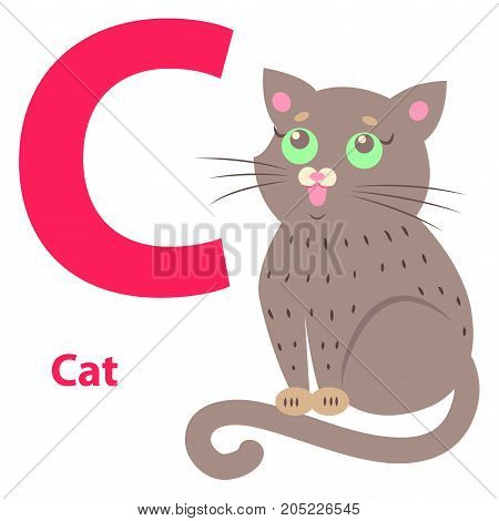 Alphabet vector illustration with cute cartoon cat with green eyes and big red letter C isolated on white background. Visualisation for children of ABC to make memorizing faster and funnier.