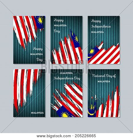 Malaysia Patriotic Cards For National Day. Expressive Brush Stroke In National Flag Colors On Dark S