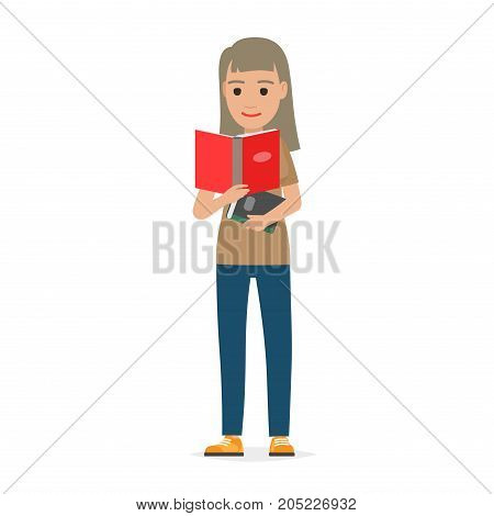 Young woman reading textbook. Brown-haired female student standing with open book in hands flat vector isolated on white background. Enthusiastic reader illustration for educational and hobby concepts