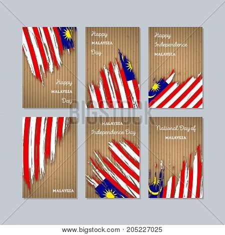 Malaysia Patriotic Cards For National Day. Expressive Brush Stroke In National Flag Colors On Kraft