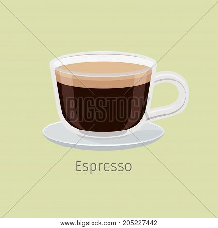 Glass cup on saucer with aromatic espresso flat vector. Hot invigorating drink with caffeine. Traditional black bitter coffee drink with foam illustration for coffee house and cafe menus design.