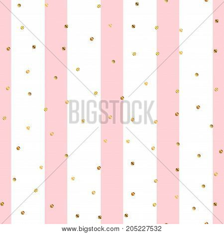 Golden Dots Seamless Pattern On Pink Striped Background. Overwhelming Gradient Golden Dots Endless R