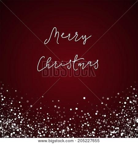 Merry Christmas Greeting Card. Random Falling White Dots Background. Random Falling White Dots On Re