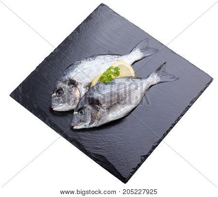 Two raw dorada fish decorated with lemon slice and parsley leaf lay on black slate isolated on white.