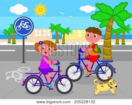 Cartoon children riding bikes on bicycle lane, vector illustration