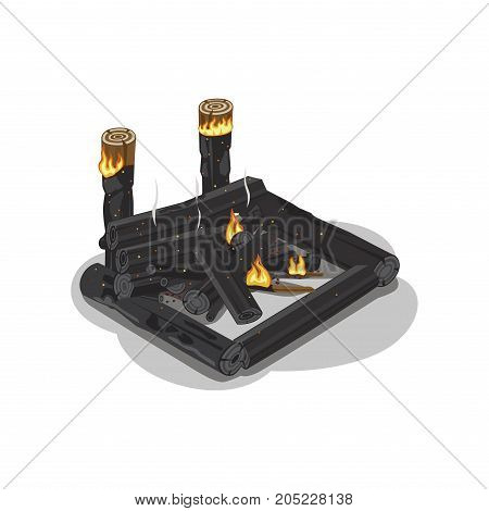 Dark burnt firewood with weak flame on white. Vector illustration of isolated place with black logs in square shape with fire. Flame made of forest trees for heating. Campfire tourist symbol