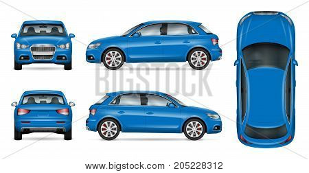 Blue SUV car vector mock up for car branding and advertising. Elements of corporate identity. All layers and groups well organized for easy editing and recolor. View from side front back top.