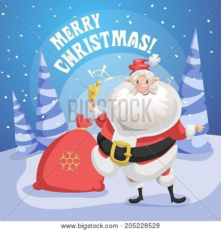 Happy smiling Santa Claus in forest with gift sack and ring bell. Merry Christmas poster. Holiday simple gradient illustration.