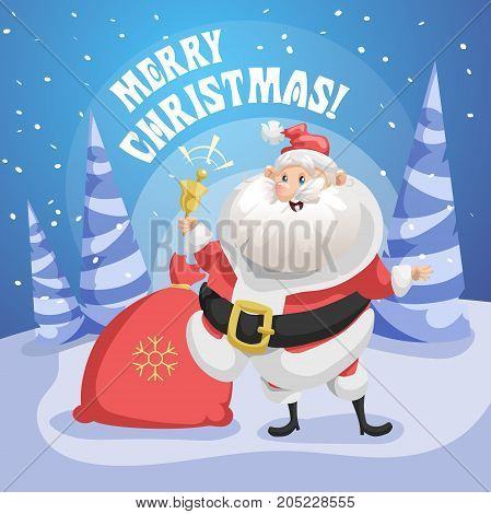 Happy Santa Claus in forest with gift sack and ring bell. Merry Christmas poster. Holiday simple gradient illustration.