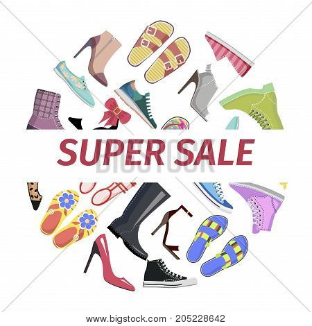 Super shoes sale circle concept. Leather and textile boots, sneakers and flip-flops sandals flat vector isolated on white background. Variety footwear illustration for discounts at end of season promo