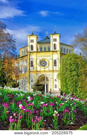 Catholic church in the small bohemian spa town Marianske Lazne (Marienbad) - Czech Republic