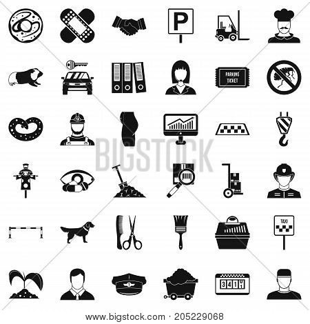Favorite work icons set. Simple style of 36 favorite work vector icons for web isolated on white background