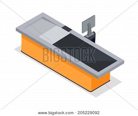 Cash register isometric projection vector illustration. Store counter and cash register icon isolated on white background. Grocery store and supermarket equipment isometry for games, app, icon, web
