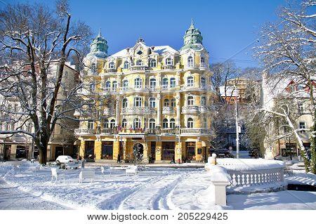 Hotel Bohemia - winter in the small west Bohemian spa town Marianske Lazne (Marienbad) - Czech Republic