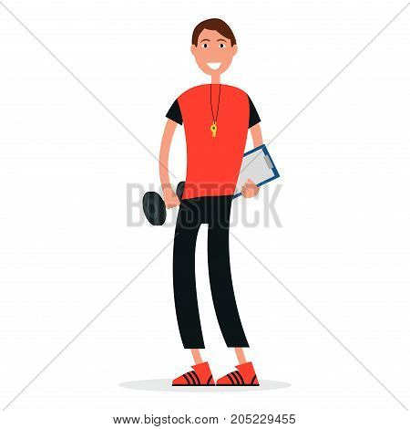 Trainer in sport gym with dumbbell, whistle on neck and list board isolated vector illustration on white. Coach in sport suit