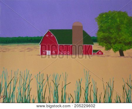 Acrylic Painting on Canvas of Red Barn and Farmland