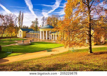 Pavilion of mineral water spring Ferdinand - small west Bohemian spa town Marianske Lazne (Marienbad) - Czech Republic