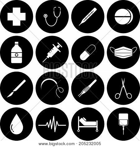Vector Easy-To-Use 16 White Medical Flat Icons In Front Of Black Circles On White Background Categorized Into Four Groups Check up Pharmaceutical Surgery And Healing.