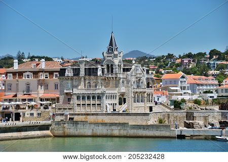 Cascais Portugal - June 7 2017: View on Cascais from water. Cascais is famous and popular summer vacation spot for Portuguese and foreign tourists