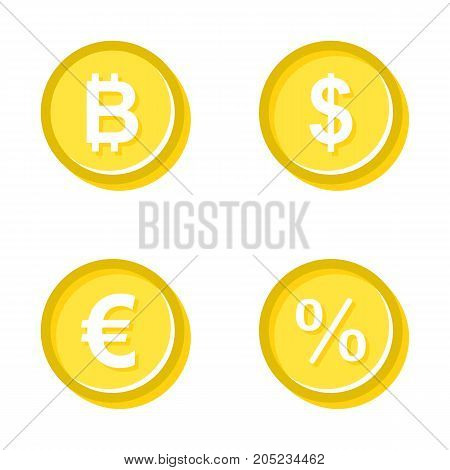 Vector illustration of gold coins of different currencies.