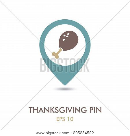 Roasted Chicken thigh mapping pin icon. Harvest. Thanksgiving vector illustration eps 10