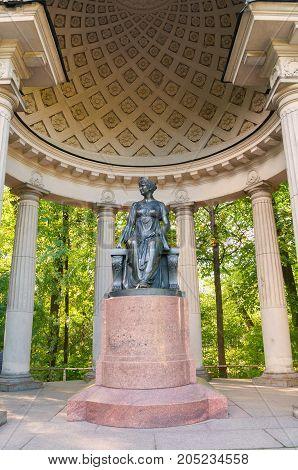 PAVLOVSK RUSSIA - SEPTEMBER 21 2017. Monument to empress Maria Fedorovna in Rossi Pavilion in Pavlovsk near Saint Petersburg Russia. Architecture landscape of  Pavlovsk St Petersburg Russia