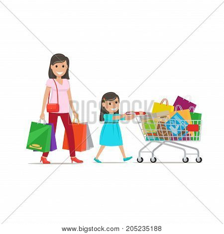 Family out on Shopping. Mother with bags goes beside her daughter who pushes cart full of different purchases. Cartoon family has fun during shopping. Mother and daughter at mall vector illustration.