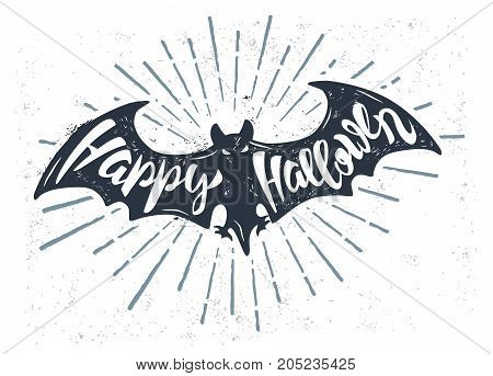 Flying bat with text happy halloween. Vector illustration
