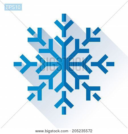 Blue snowflake icon in flat style on white background. Vector winter design element for you Christmas project