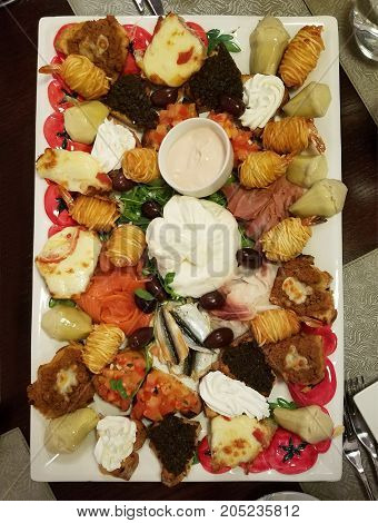 Tray With Mixed Appetizers
