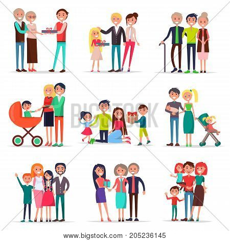 Concept of parents day on white background vector illustration. Young and old mothers and fathers accepts congratulations and gifts from children