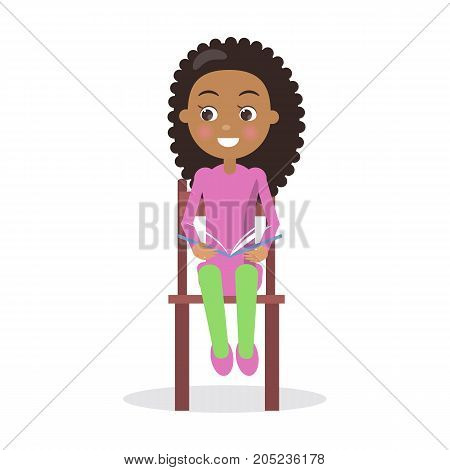 African smiling Girl with textbook sits on chair and reads interesting enciclopedia, vector illustration dedicated to International World Book and Copyright Day