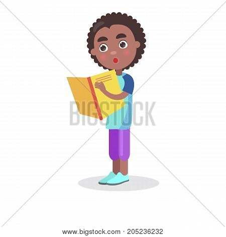African smiling boy with textbook reads interesting enciclopedia, vector illustration dedicated to International World Book and Copyright Day