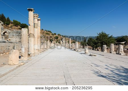 Columns of a typical Roman Basilica in Ephesus, Turkey.