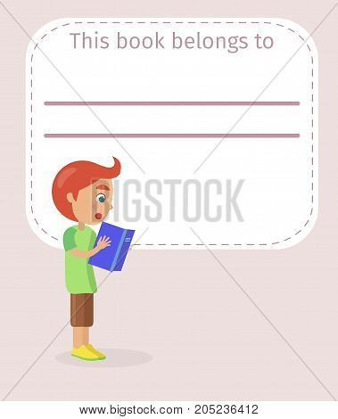 Book cover with place for signing and little readhead boy in T-shirt and shorts who reads with interest vector illustration.