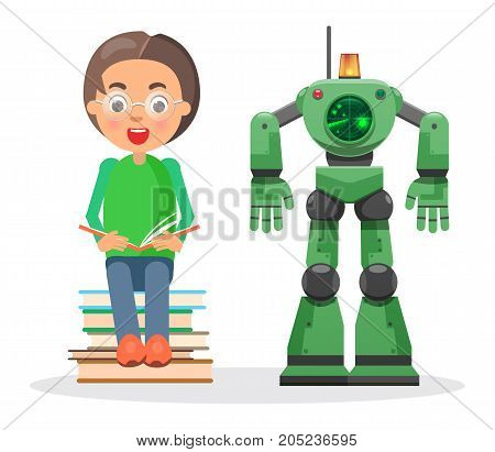 Child in glasses sits on pile of books and reads beside green robot with flasher and radar isolated vector illustration on white background.