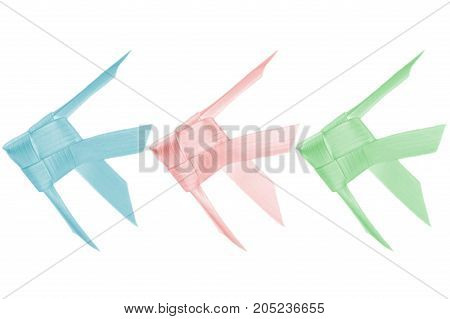 Thai woven coconut leaves fish on white background
