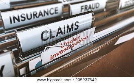 Folder with close up on the word claims and a note where it is written under investigation. Concept of insurance fraud 3d Illustration